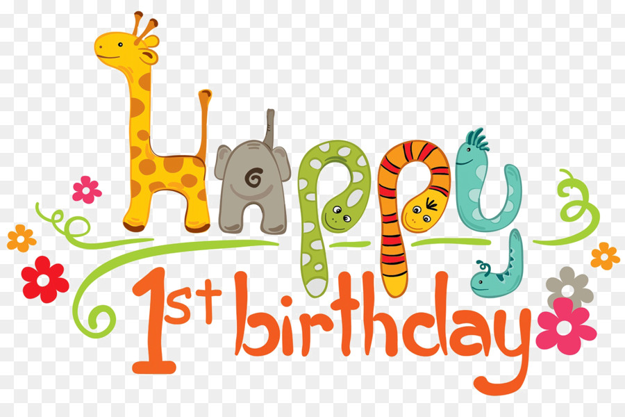 Happy First Birthday Clipart Wish Greeting Note Cards