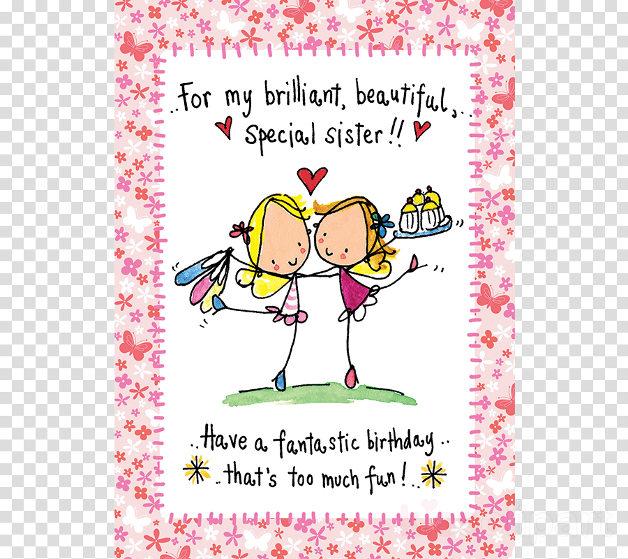 Birthday Card For Sisters Clipart Greeting Note Cards Design