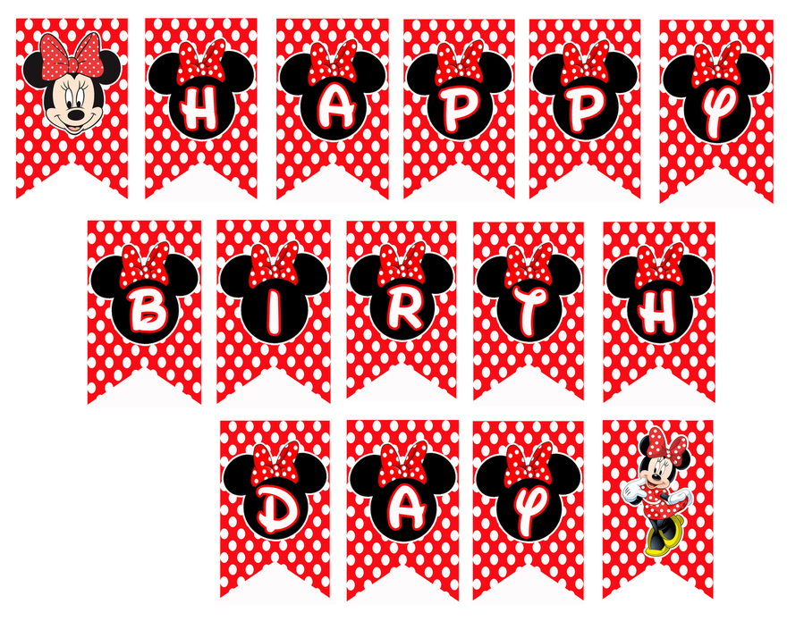 Birthday Banner Mouse Party Red Black Text Pattern Font