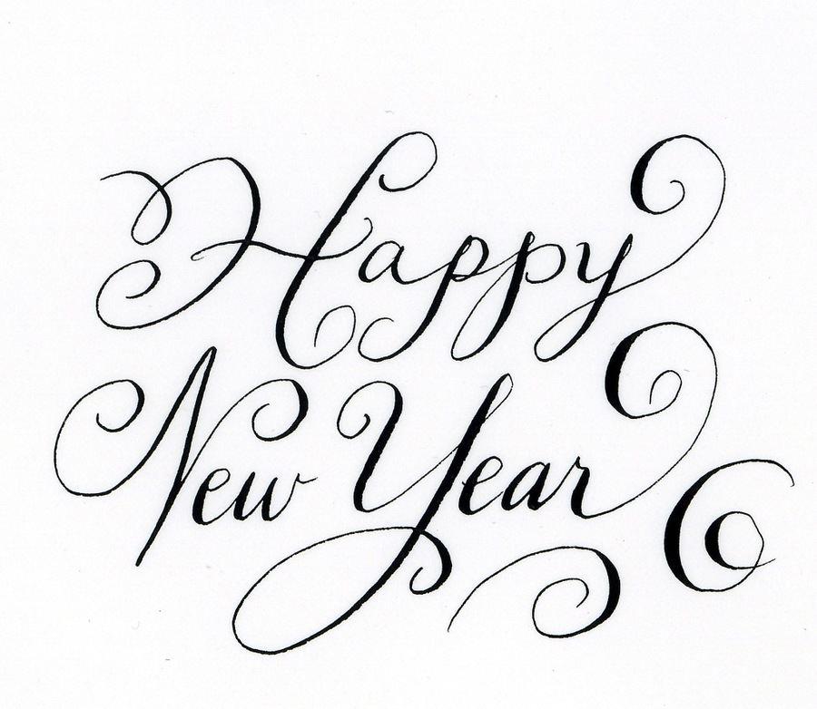happy new year clipart handwriting calligraphy logo
