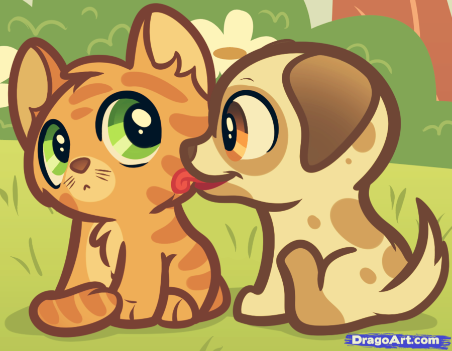 cute puppies and kittens drawings clipart Puppy Kitten Cat