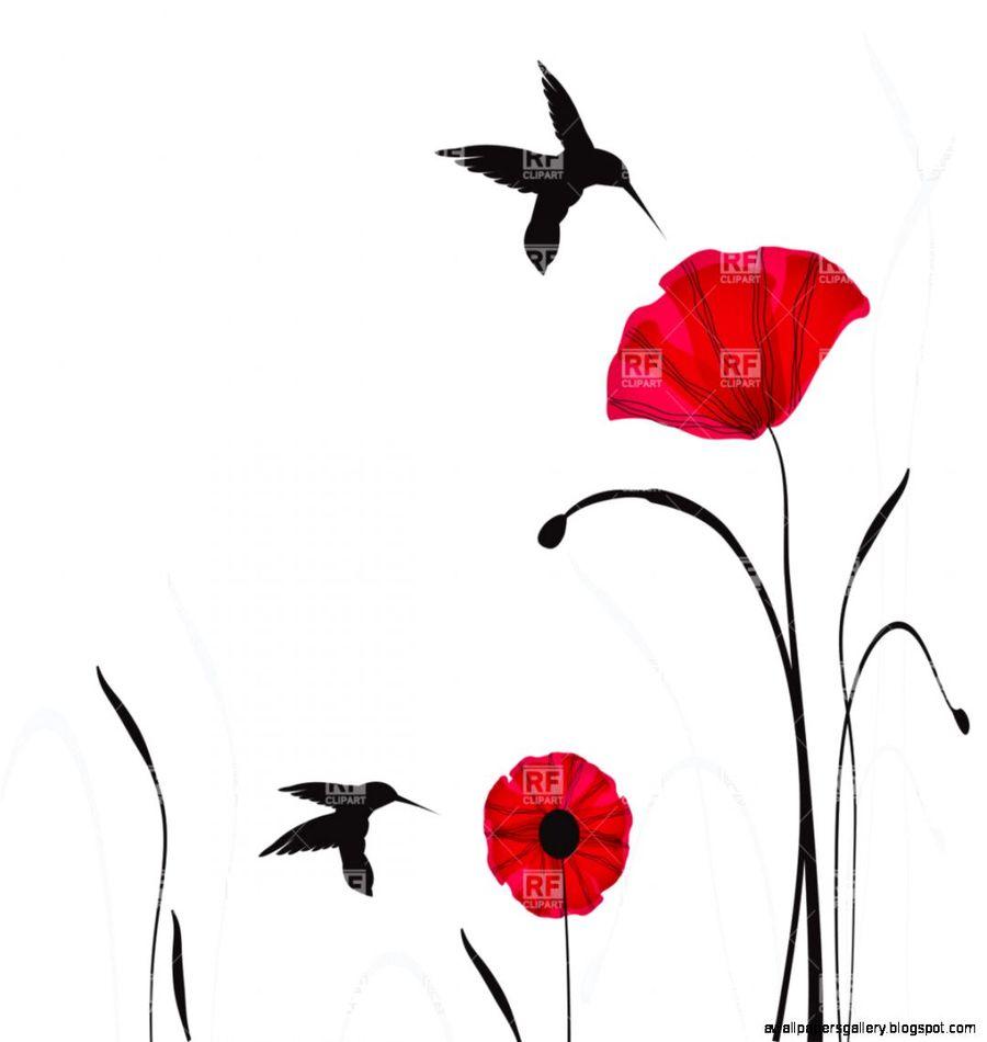 Download Poppies Flowers Clipart Poppy Hummingbird Clip Art