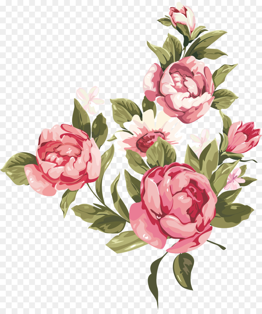 Watercolor Flower Background Clipart Painting Rose Flower