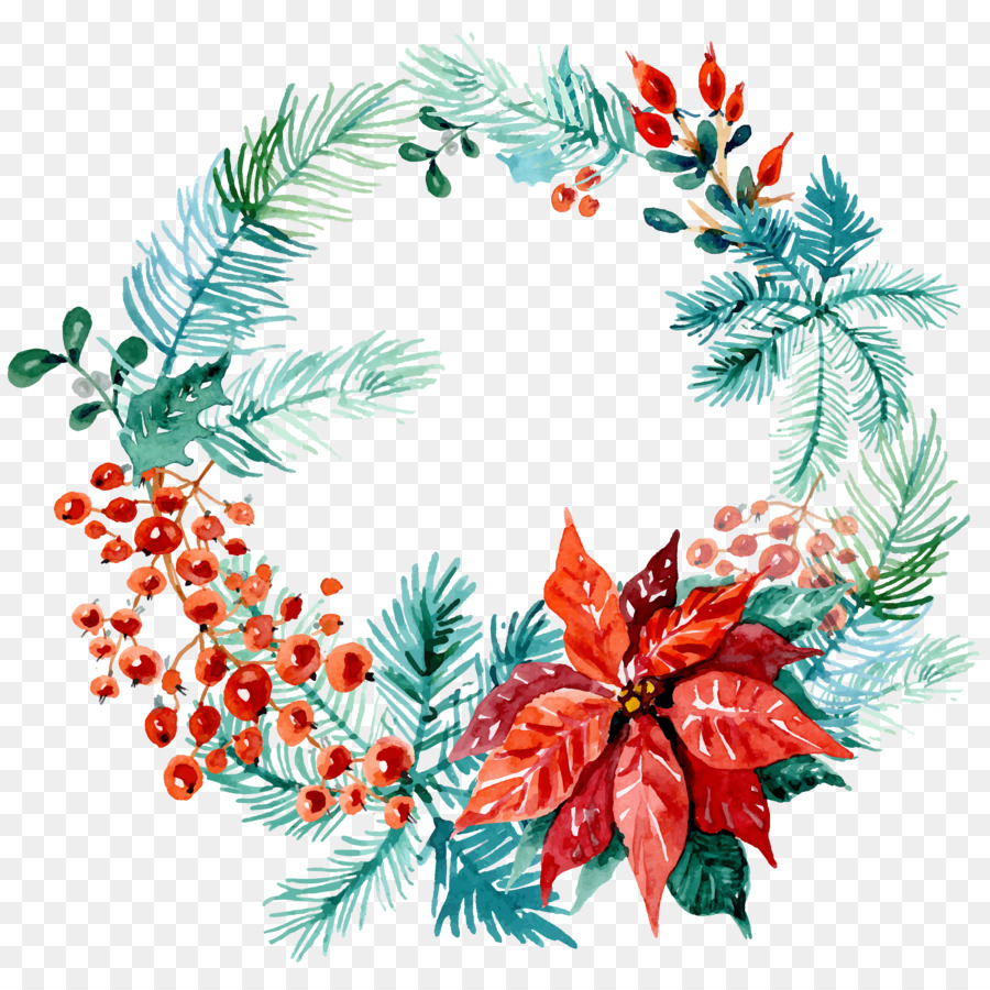 Christmas wreath watercolor. Tree clipart holiday