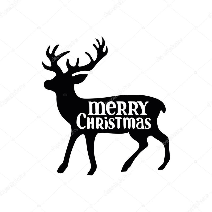 Download merry christmas white background clipart Reindeer Black and ...