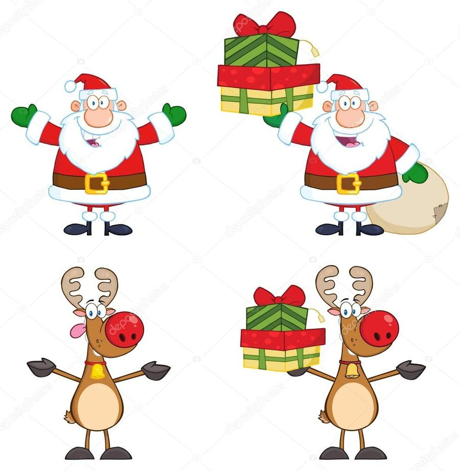 Download imagenes de papa noel con reno animado clipart Santa Claus ...