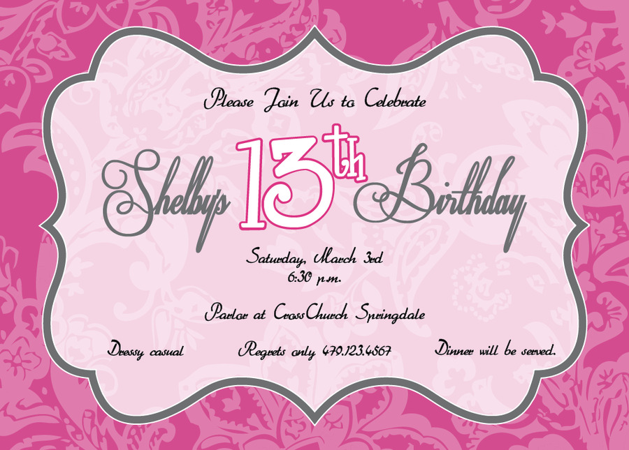 13 Year Old Birthday Invitations Clipart Wedding Invitation Greeting Note Cards