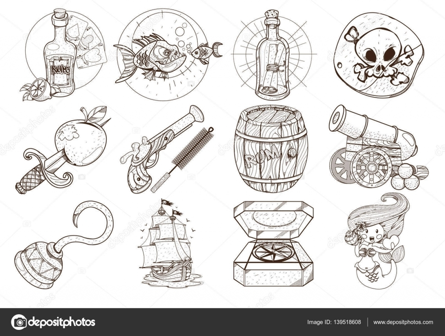 Clipart resolution 1024*772 - cosas de piratas para colorear clipart ...