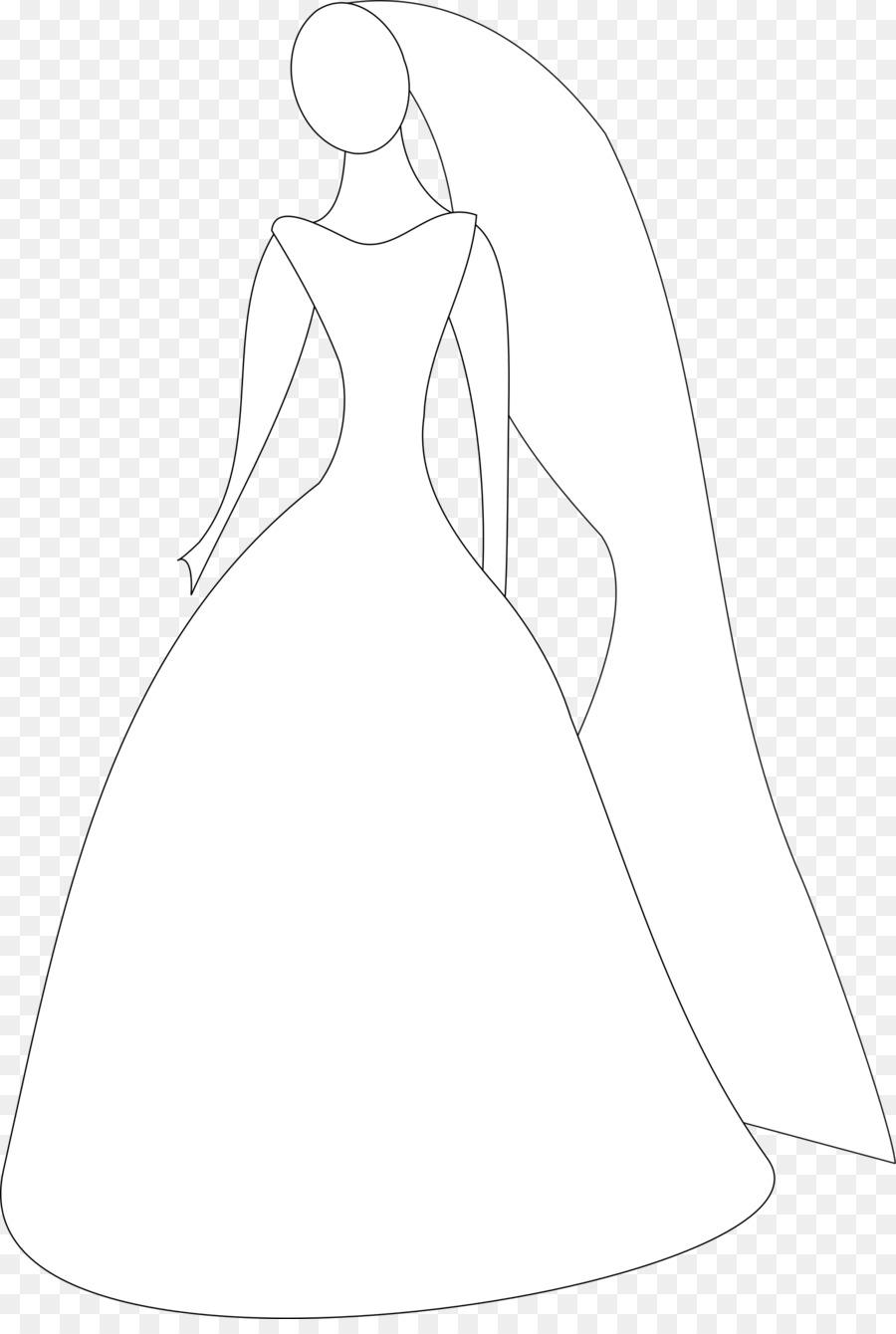 line wedding dress clipart Wedding dress Bride Clip art