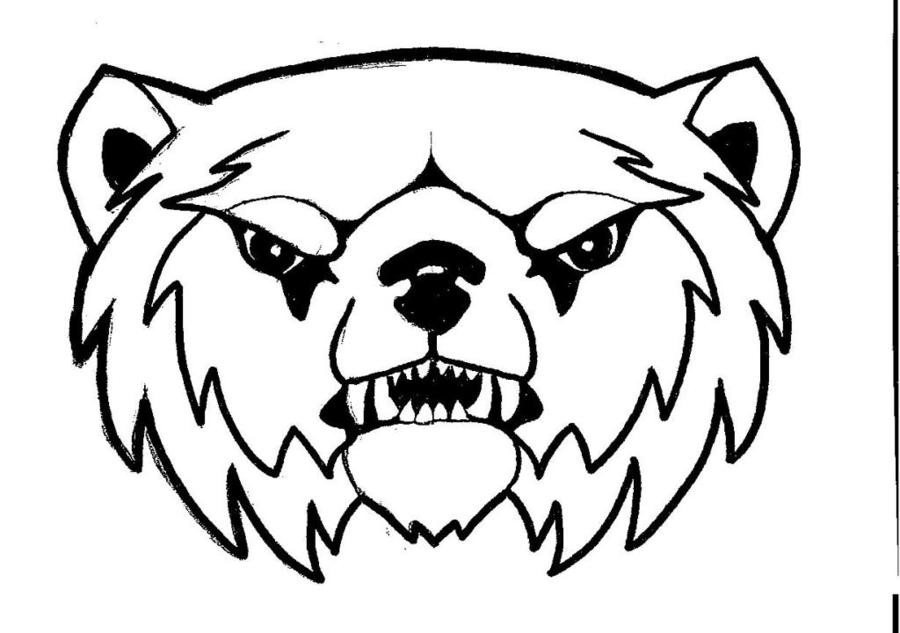 white black face dog head bear wildlife drawing design font