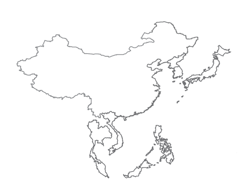Blank Map Of East And Southeast Asia.Hand Outlinetransparent Png Image Clipart Free Download