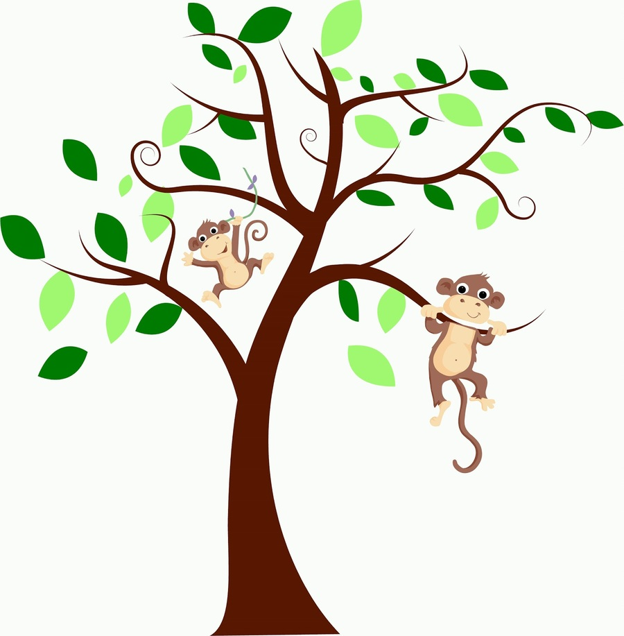 Download monkeys on a tree clipart Branch Capuchin monkey