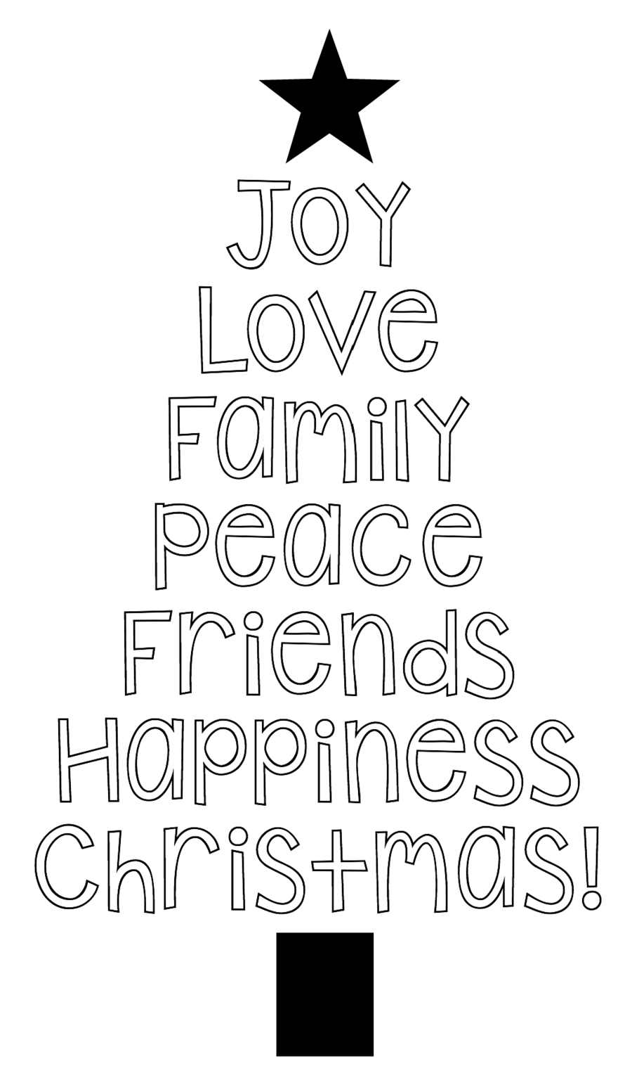 Christmas Tree Clipart Black And White.Christmas Black And White Clipart Word Text Font