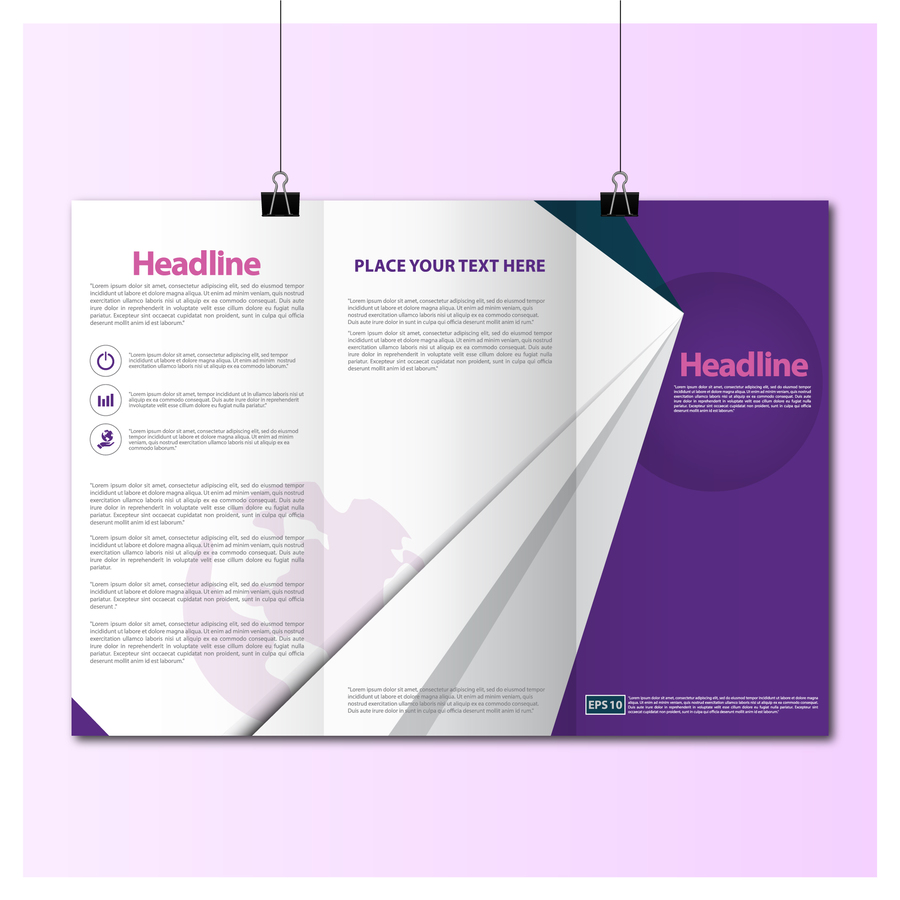 download tri fold brochure template free download purple clipart