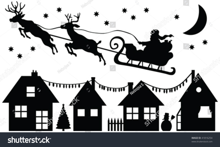 Santa Clause Silhouettes Clipart Claus Reindeer
