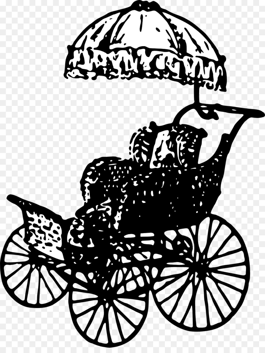 Clip Art Drawing Of A Vintage Childs Baby Carriage