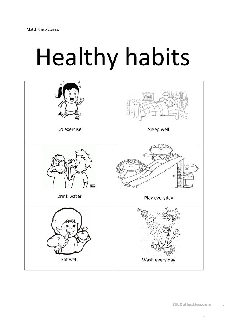Worksheets Healthy Habits Clipart Habit Health Paper