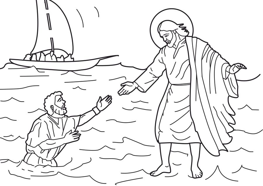 Download jesus walks on water coloring page clipart Coloring book ...