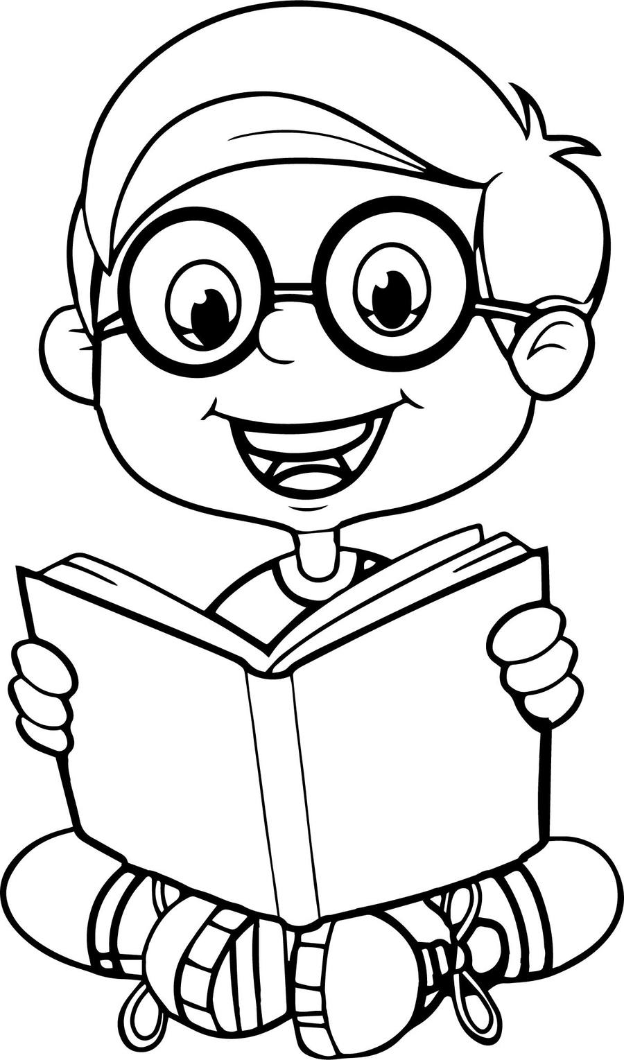 download coloring page of reading books clipart coloring book