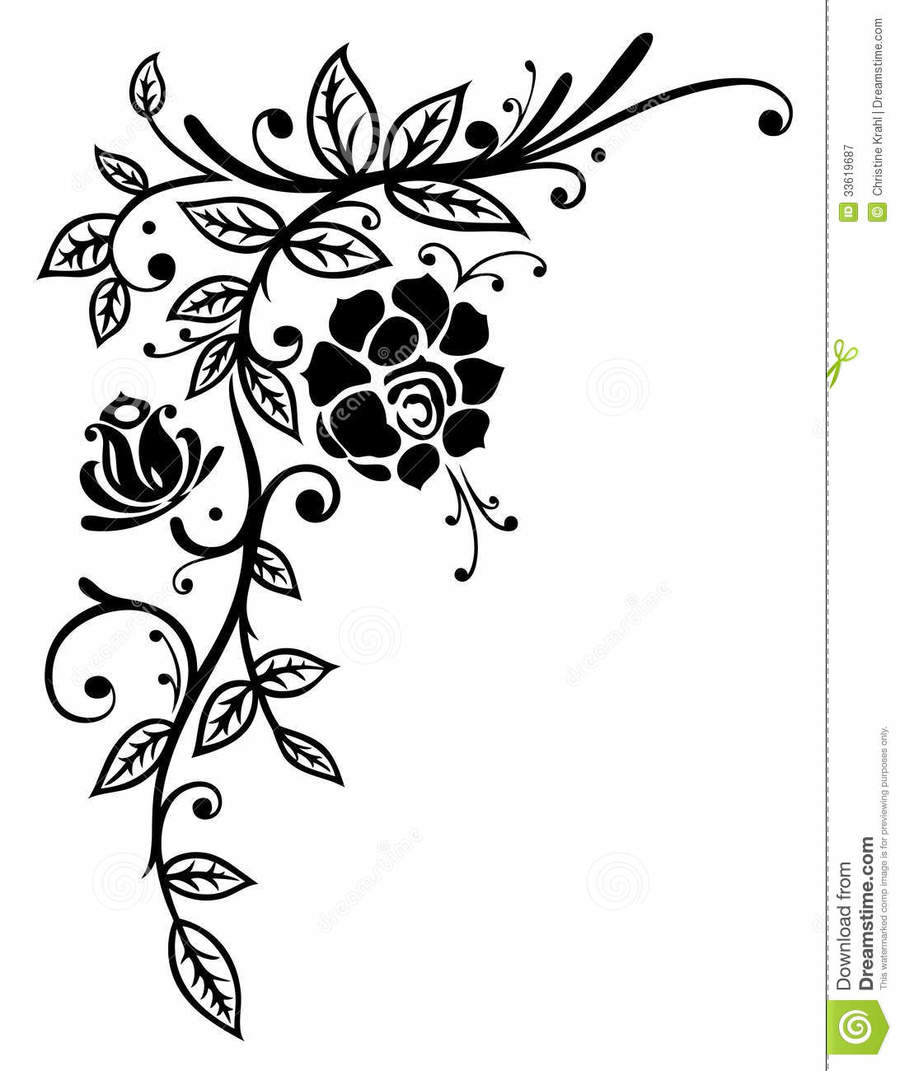 Download Roses Black And White Border Clipart Borders And Frames