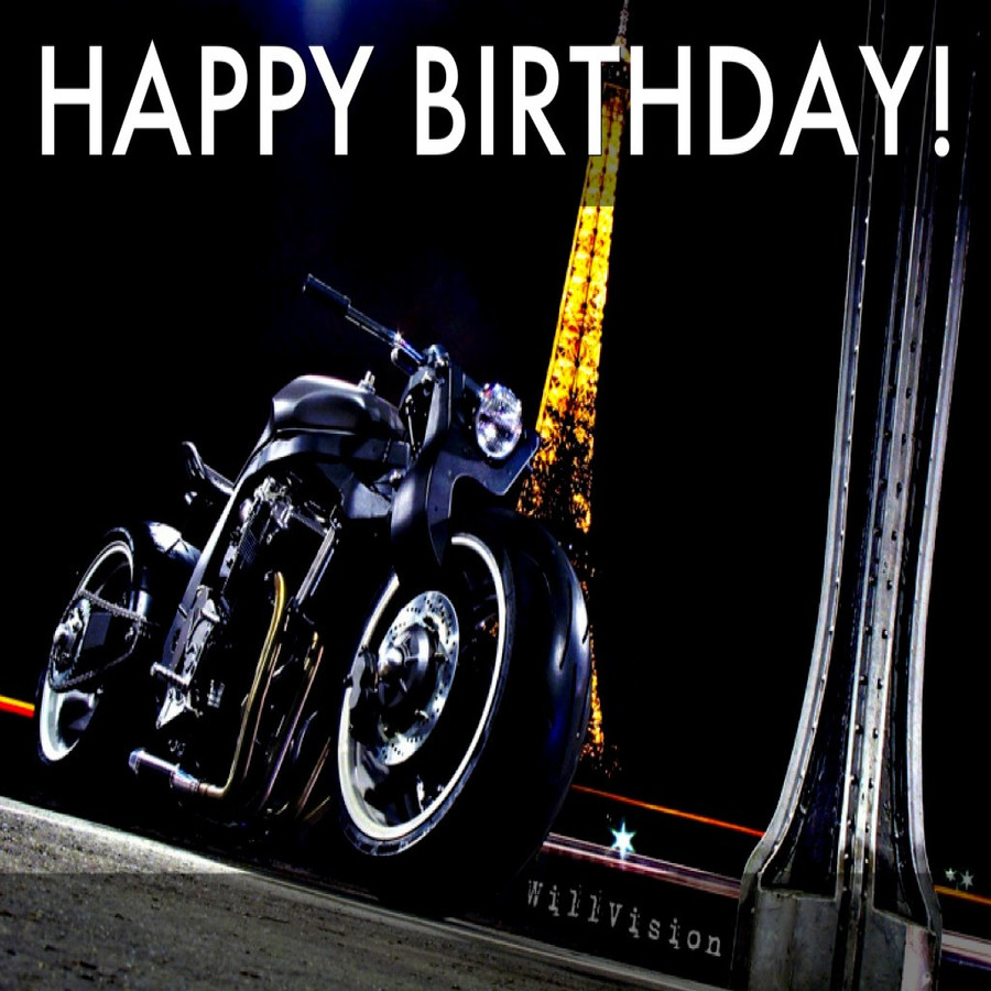 Happy Birthday With Motorcycle Clipart Wish