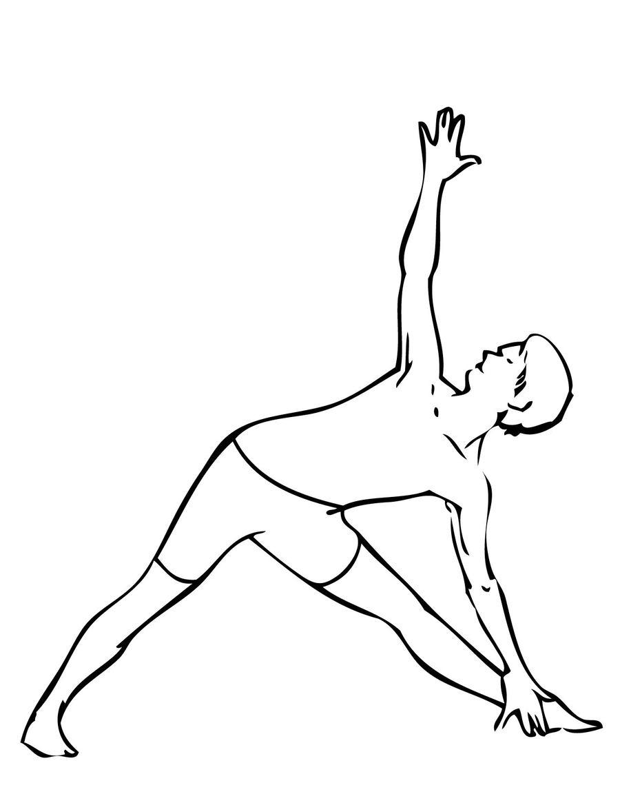 Download triangle pose clipart Yoga Coloring book Trikonasana ...