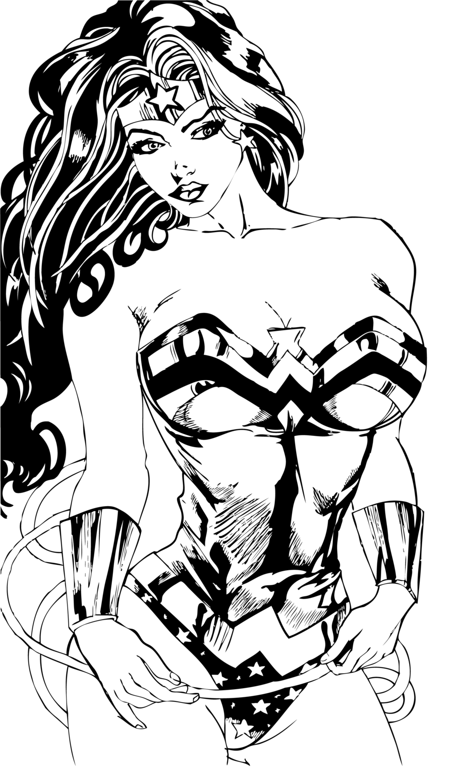black and white super hero women drawings clipart Black and white Wonder Woman Sketch