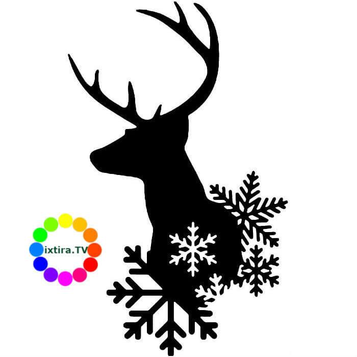 Deer With Snowflakes Silhouette Clipart Reindeer Santa Claus