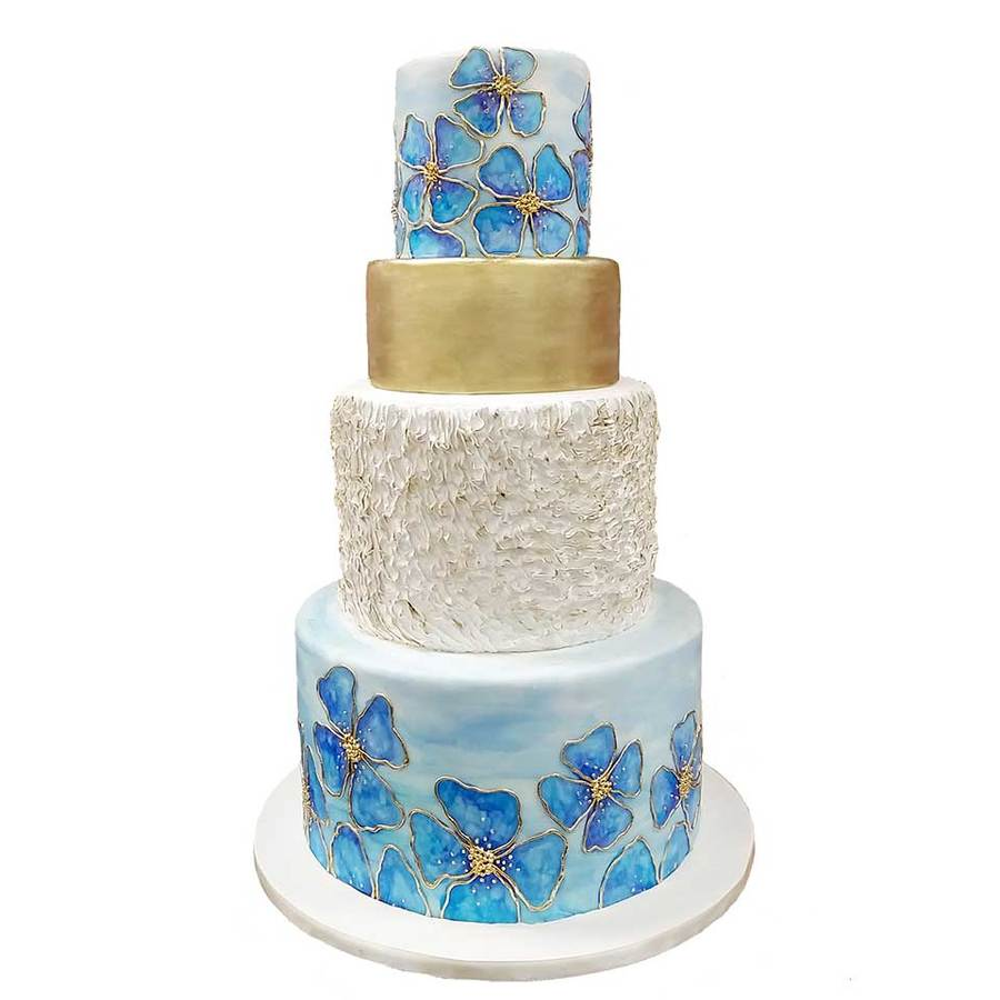 Download White And Blue Cake With Flower Clipart Wedding Cake Cake