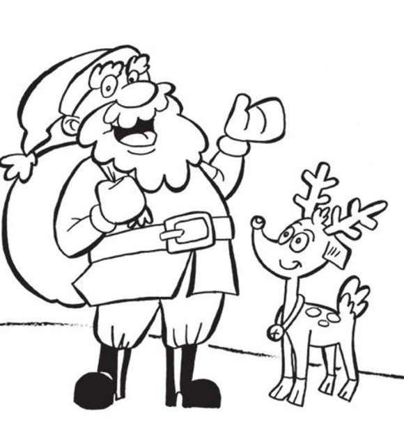free download santa and rudolph coloring pages clipart santa claus rudolph reindeer it comes with full background with resolution of 580614