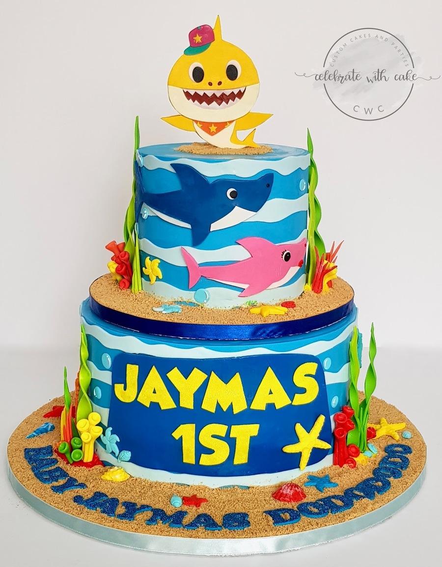 Download 2 Tier Baby Shark Cake Clipart Birthday Cake Cupcake Cake