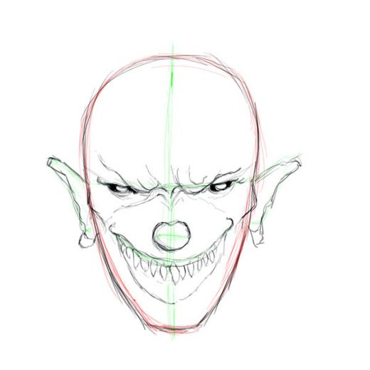 Clown Drawing Sketch Face Nose Head Smile Mouth Muscle