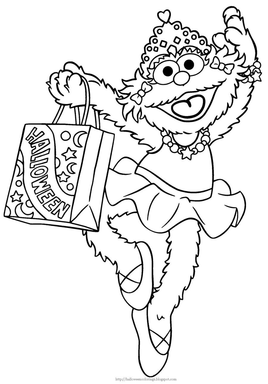 Download Sesame Street Halloween Coloring Pages Clipart Oscar The Grouch Count Von Big Bird