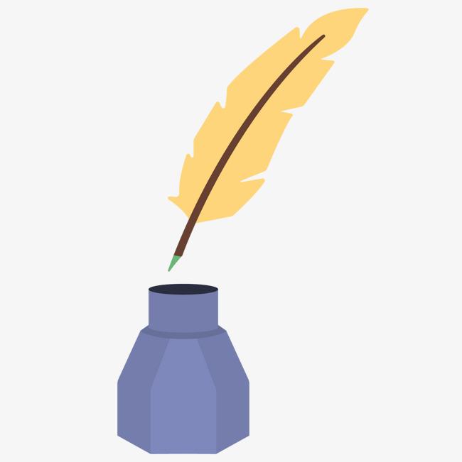 平面设计剪辑羽毛纸笔