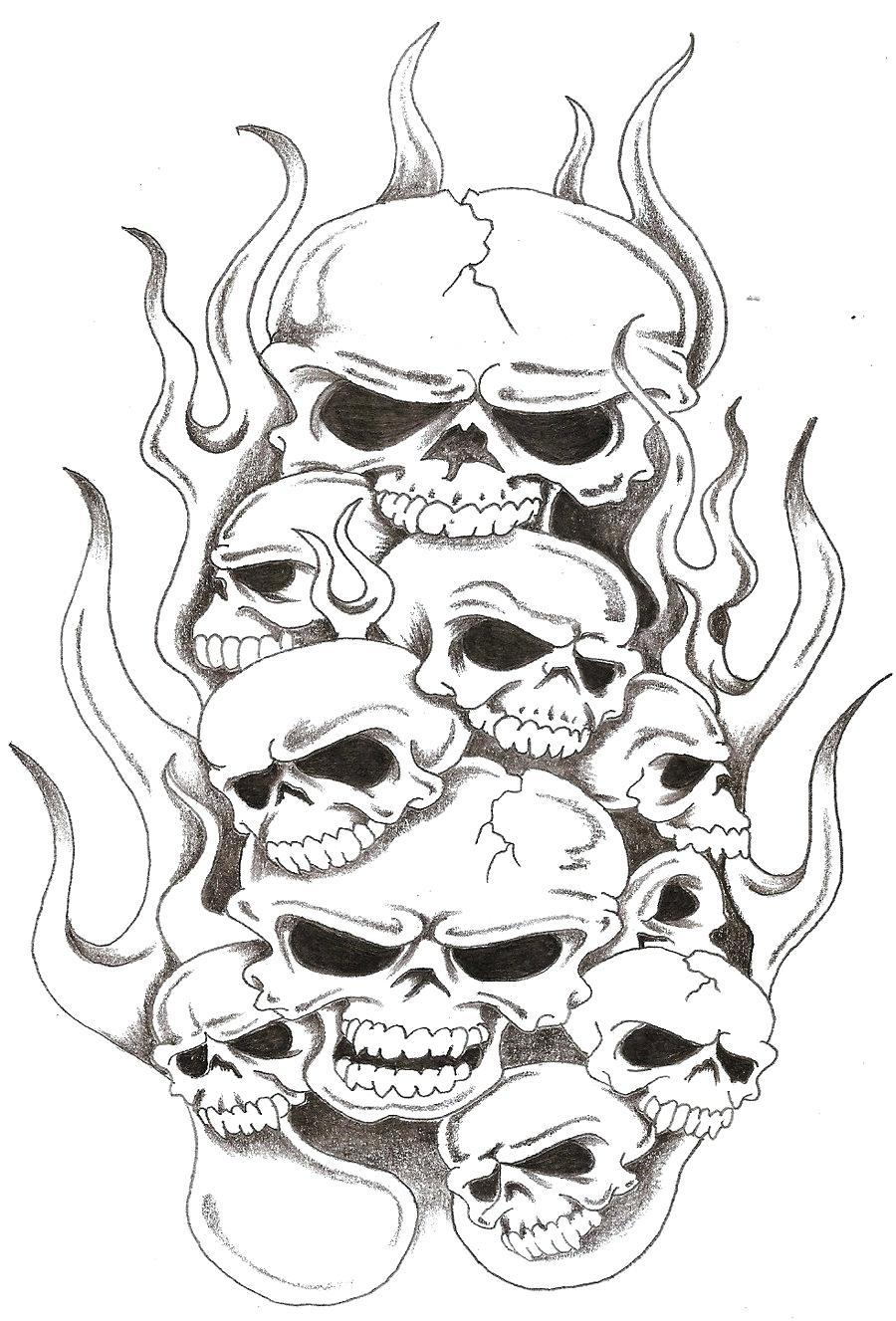 Download Flaming Skull Tattoo Designs Clipart Drawing Jpg 900x1327 Library Ideas