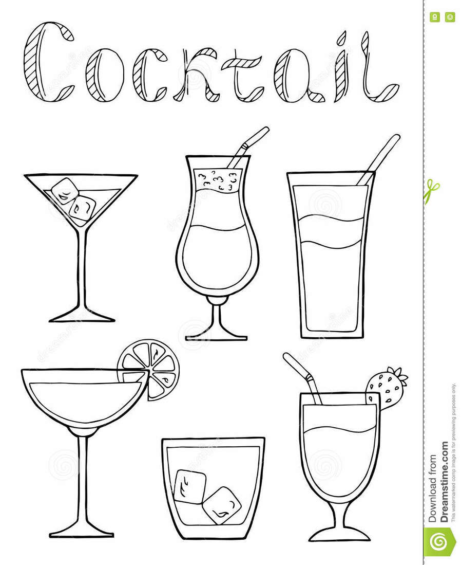 download black and white drawing cocktail glasses clipart cocktail