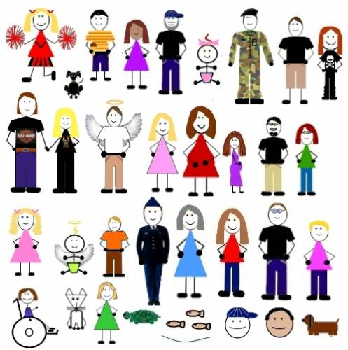 family cartoon product font design line icon graphics
