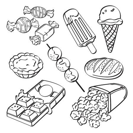 Download Unhealthy Foods Black And White Clipart Junk Food Ice Cream Clip Art Hamburger Drawing