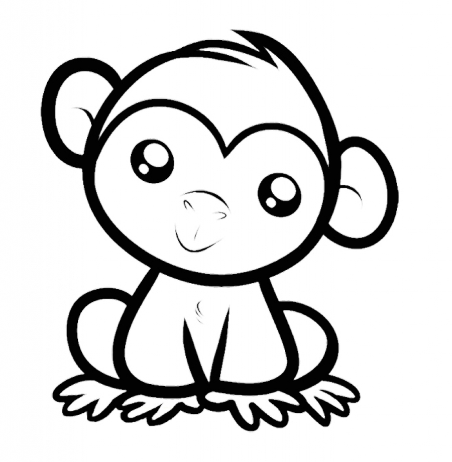 Cute Monkey Coloring Page Clipart Book Colouring Pages