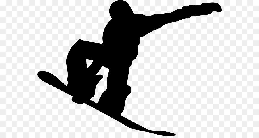 Hand Cartoon Clipart Snowboarding Skiing Silhouette Transparent Clip Art