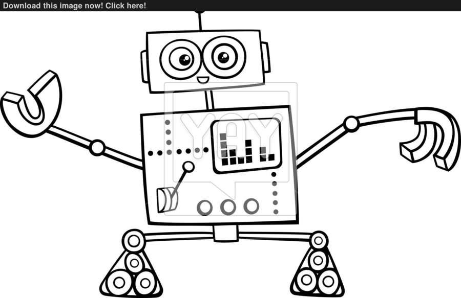 Robot Drawing Technology Cartoon Product Design Line Font
