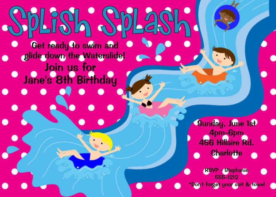 Download Water Park Party Invitation Clipart Wedding Pool Slides Birthday