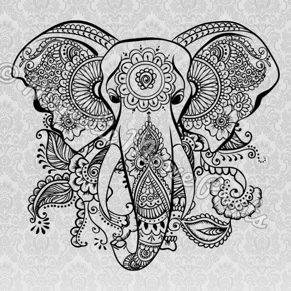 Elephant tribal. Butterfly black and white