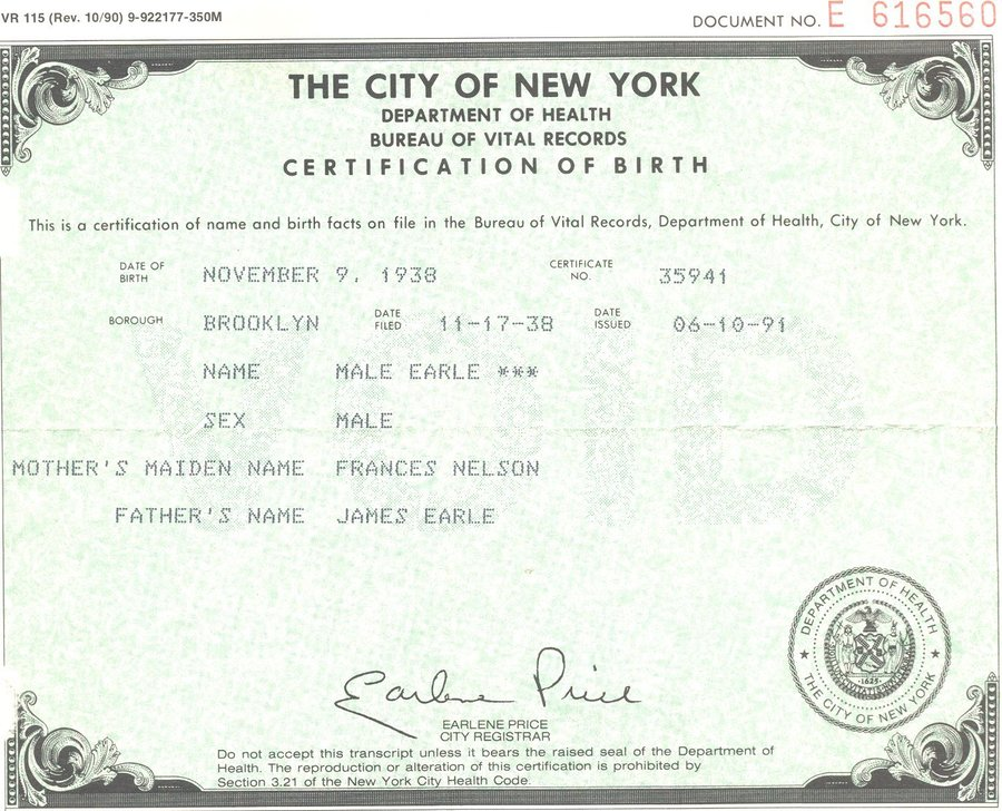 Download New York Birth Certificate Template Clipart New York City