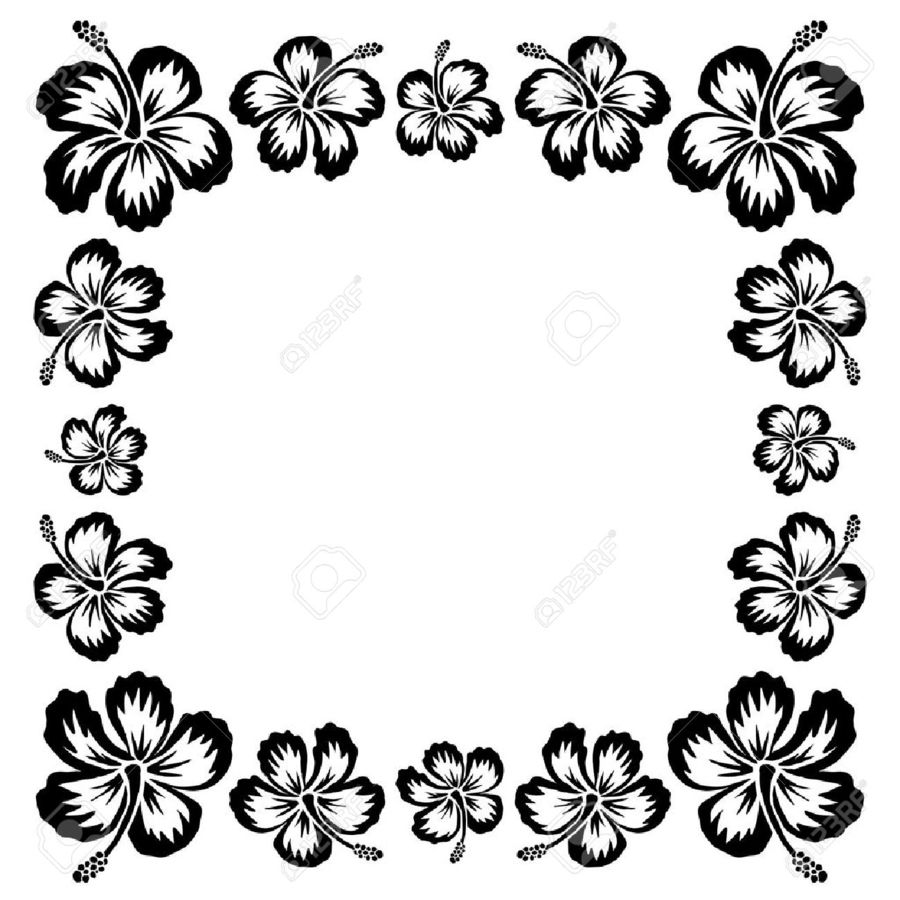 Download Black And White Hawaiian Flower Border Clipart Rosemallows