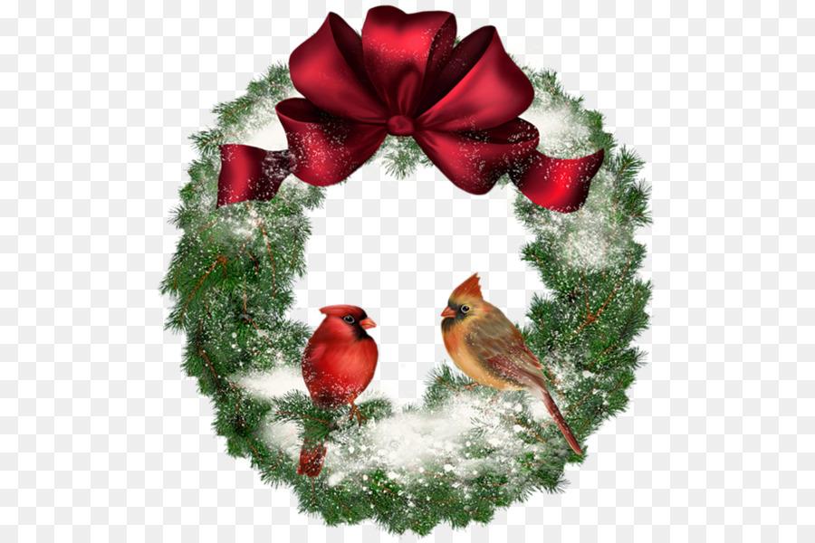 Christmas Cardinals Clipart.Christmas Decoration Cartoon Clipart Wreath Bird