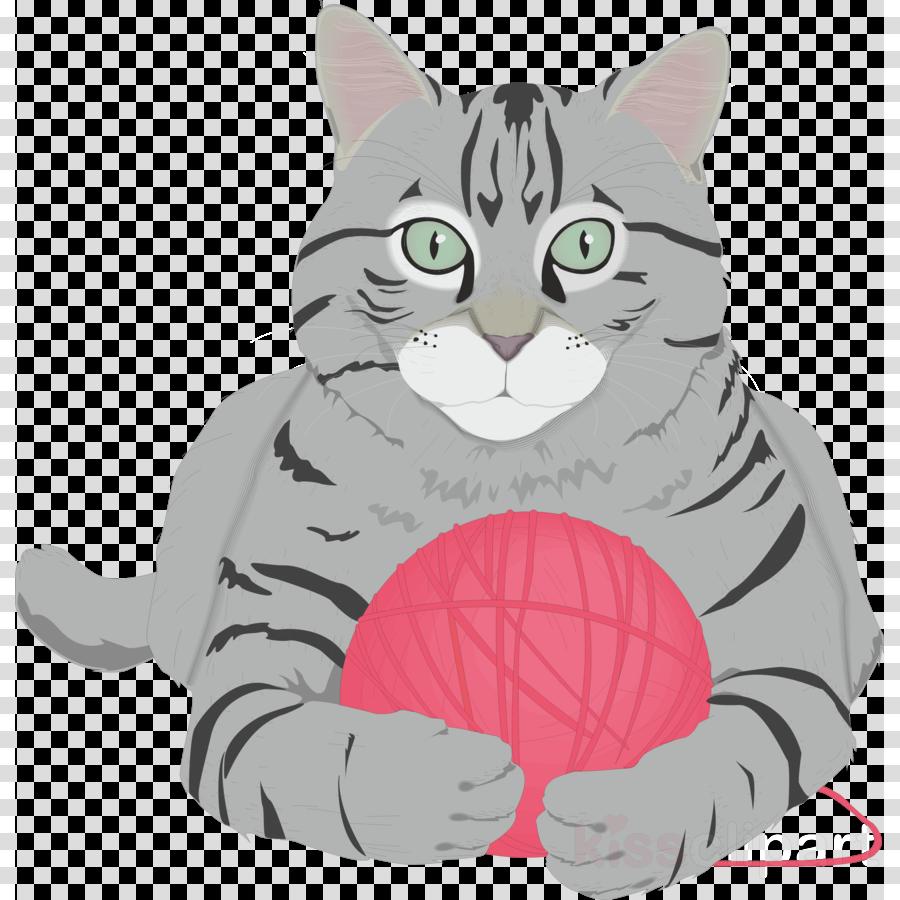 katze mit garn-geschenken grußkarte clipart American Shorthair Kitten British Shorthair
