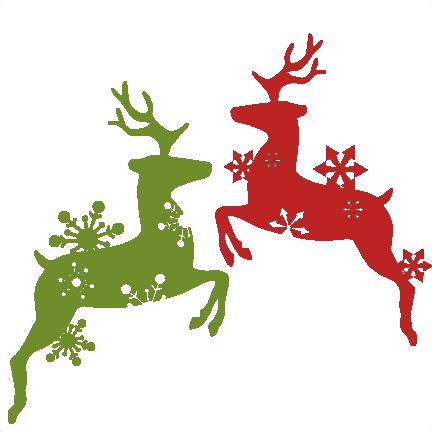 Christmas Reindeer Silhouette.Christmas Ornament Silhouette Clipart Reindeer Deer