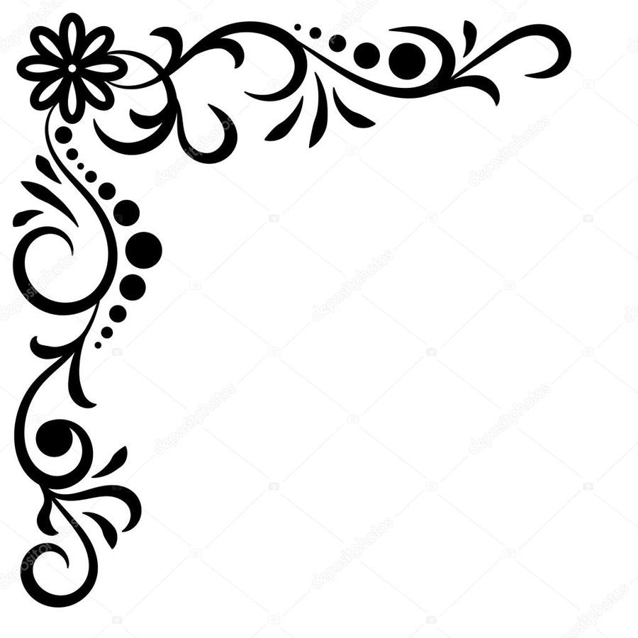 Download Corner Flower Black And White Clipart Floral Design Clip