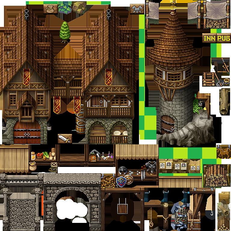 old, outside, medieval, fantasy, jeane_vavy, inn, pub, signs, retro